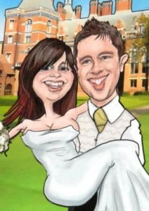 rob and rachel caricature