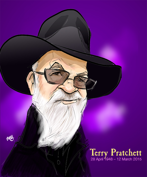 Terry Pratchett Caricature by Beefy's Caricatures